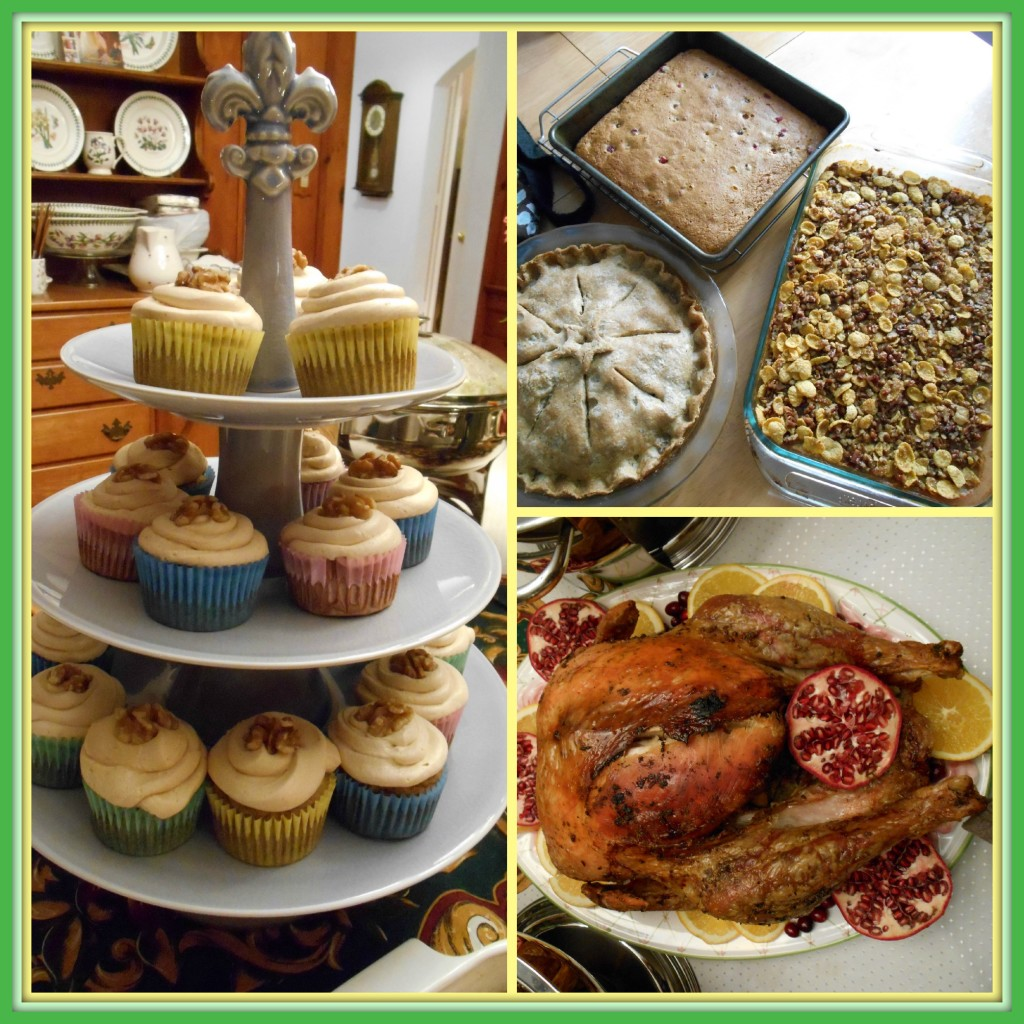 Clockwise from left: Some Thanksgiving fare - Banana cake muffins, apple pie, cornmeal and cranberries loaf, sweet potato casserole with pecan and cornflakes topping, turkey.