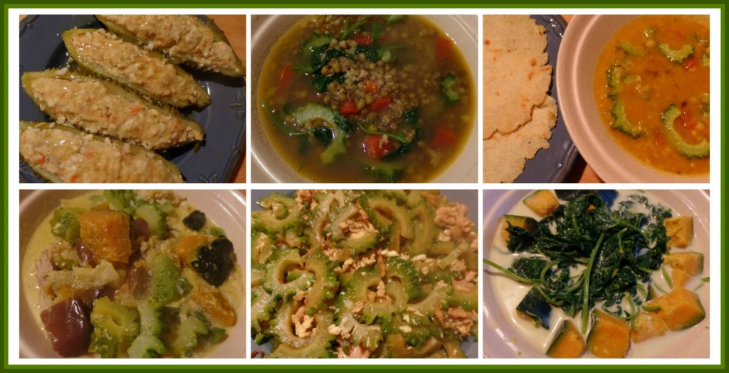 Clockwise from Top Left: Stuffed bitter gourd, bitter gourd in mungbean soup with tomatoes and camote leaves, bitter gourd in dhal curry served with homemade flatbread, bitter gourd leaves in coconut milk with pumpkin, stir-fried thin-sliced bitter gourd with chicken pieces, chopped bitter gourd with okra, eggplant and pumpkin in coconut milk.